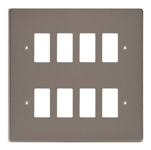 Varilight XDRPG8 PowerGrid Pewter 8-Gang Grid Plate (Double Twin Plate)